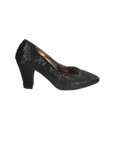 Mhd 023 Platin Kadın Topuklu Ayakkabı Siyah